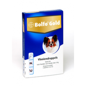Bolfo Gold Hond 40, Vlooiendruppels Voor Honden Tot 4 Kg 4 pipet