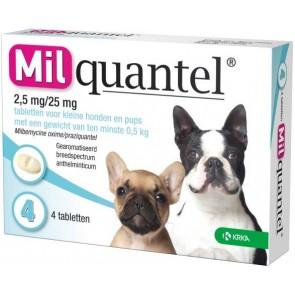 Milquantel 2,5 mg/25 mg Puppy/Kleine hond 4 tabl.